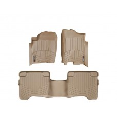 Nissan Armada Floor Mats by WeatherTech, 1st and 2nd Row, Tan, One Post Hole, 2004-2011 (TA60)