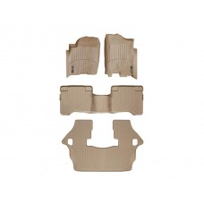 Nissan Armada Floor Mats by WeatherTech, 1st, 2nd and 3rd Row, Tan, One Post Hole, 2004-2011 (TA60)