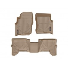 Nissan Pathfinder Floor Mats by WeatherTech, Front and Rear, One Post, Tan, 2005-2011 (R51)