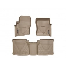 Nissan Frontier Floor Mats by WeatherTech, Front and Rear, Extended Cab, Two Hook, Tan, 2005-2018 (D40)