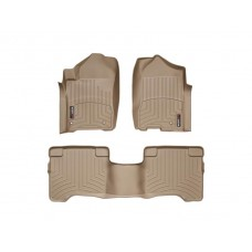 Nissan Armada Floor Mats by WeatherTech, 1st and 2nd Row, Tan, Two Post Holes, 2008-2011 (TA60)